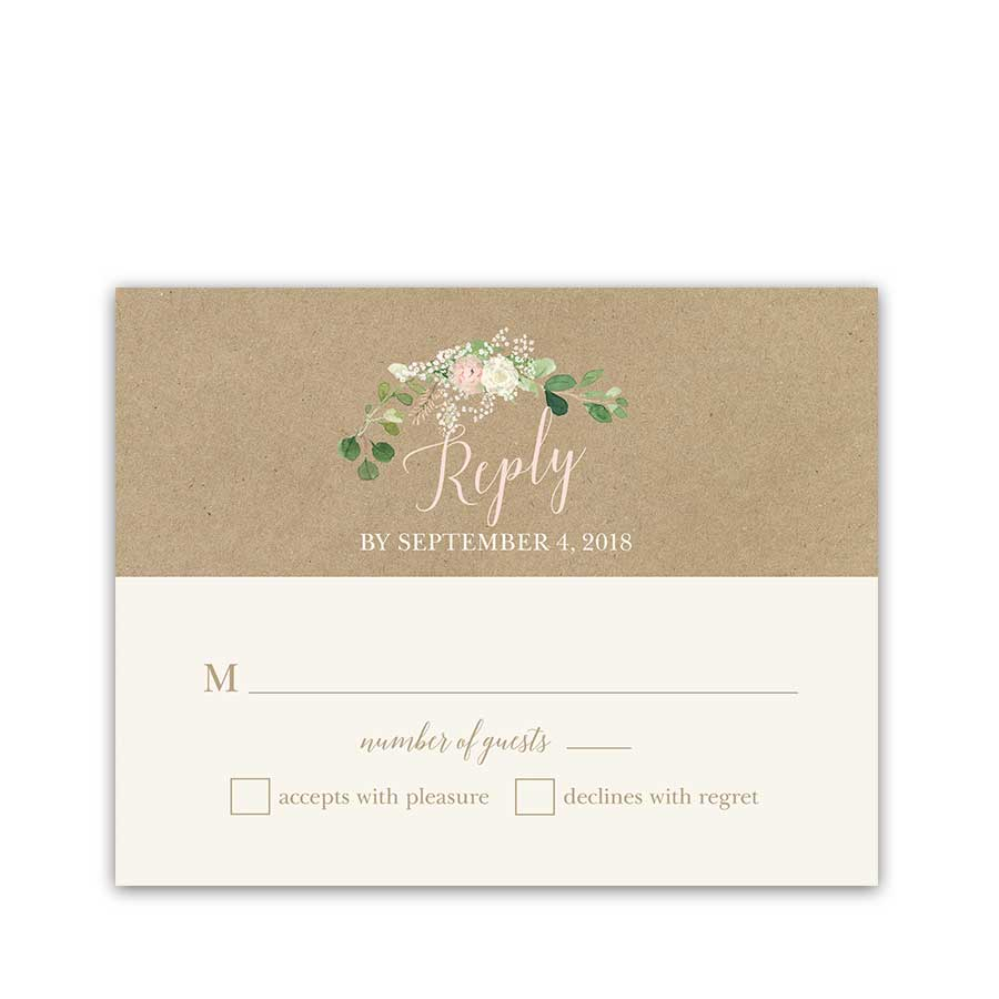 Kraft Wedding RSVP Card Blush Floral Greenery Wreath