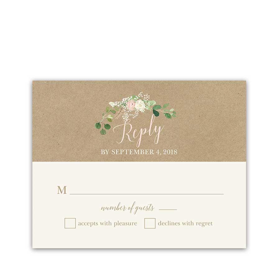 Kraft Wedding RSVP Card Blush Floral Greenery Wreath