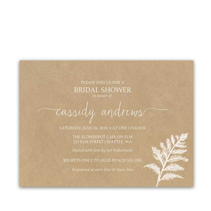 Rustic Bridal Shower Invitations Fern Frond Kraft Wedding