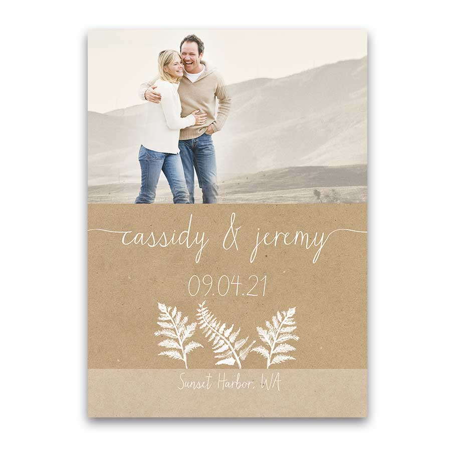 Fern Theme Save the Date Photo Card For Woodsy Weddings