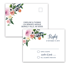 Watercolor Floral Flowers Wedding RSVP Postcards