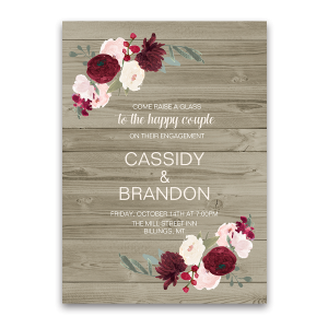 Rustic Floral Burgundy Blush Engagement Party Invite