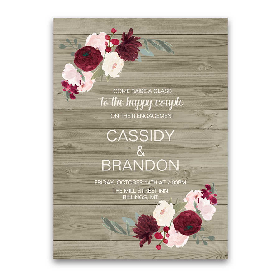 Rustic floral burgundy blush engagement party invite for Wedding engagement party invitations