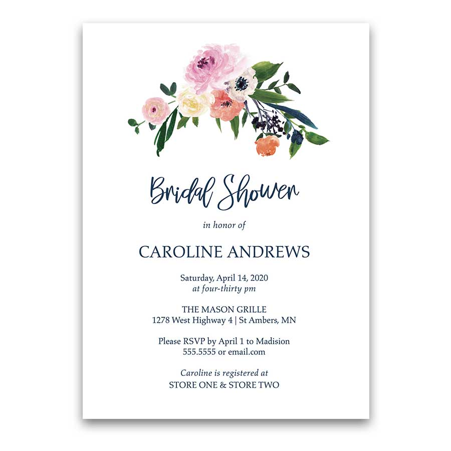 Floral Bridal Shower Invitation Navy Blush Watercolor Script