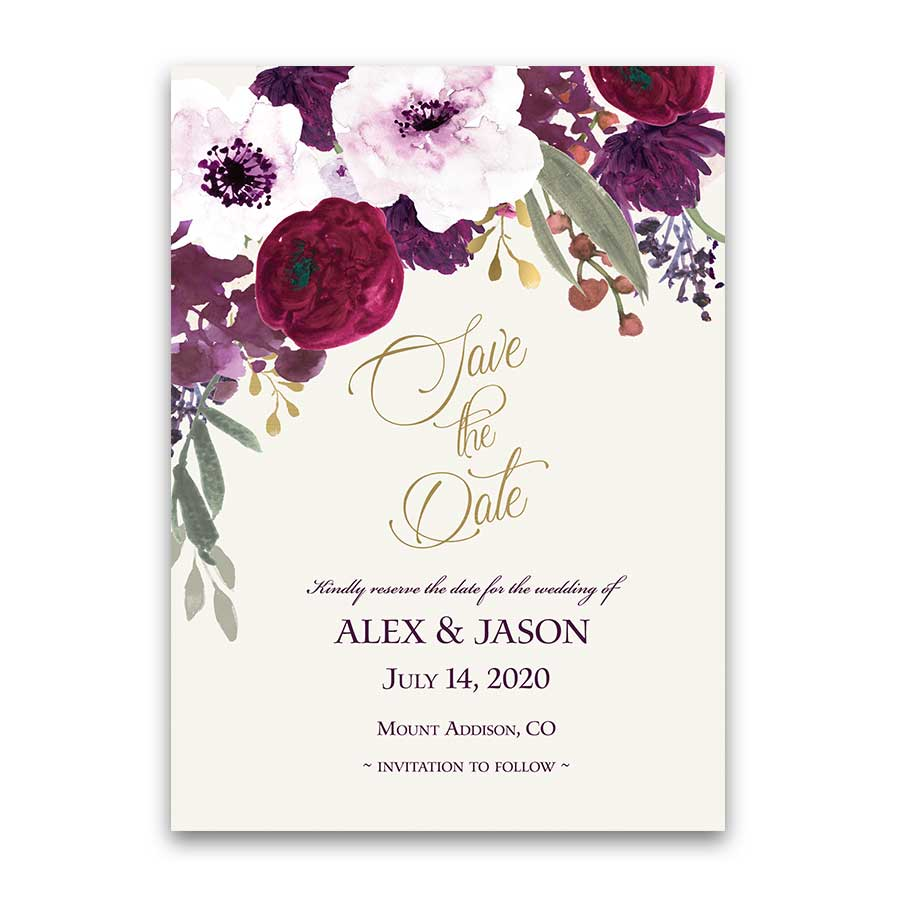 Save the Dates Plum Sangria Purple Wedding with a Floral Frame