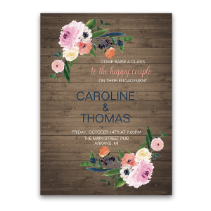Rustic Floral Watercolor Flowers Engagement Party Invitation