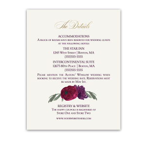 Floral Purple Burgundy Wedding Information Card