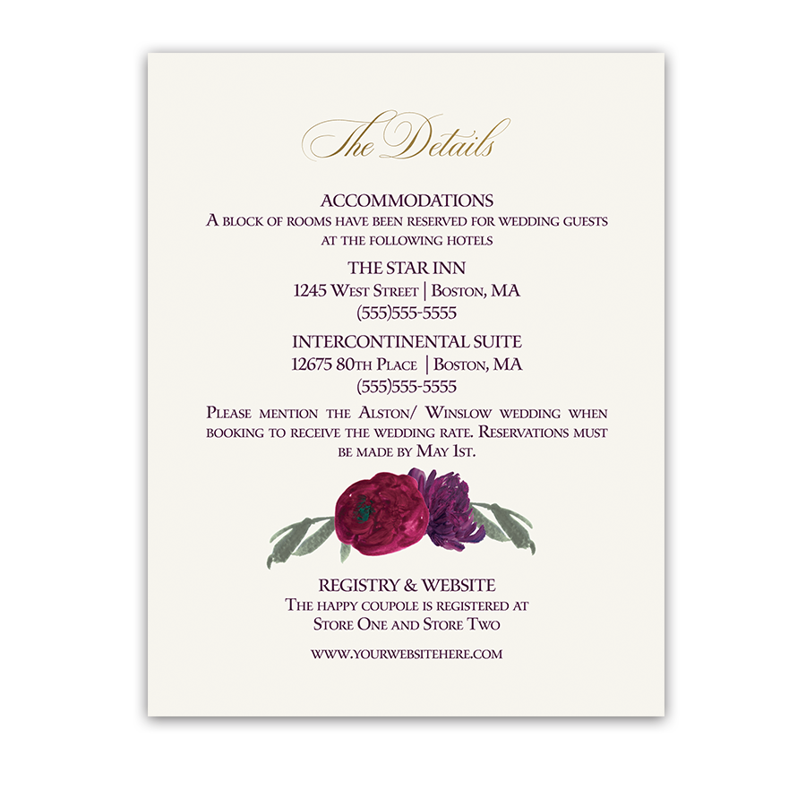 Floral Purple Burgundy Wedding Information Card