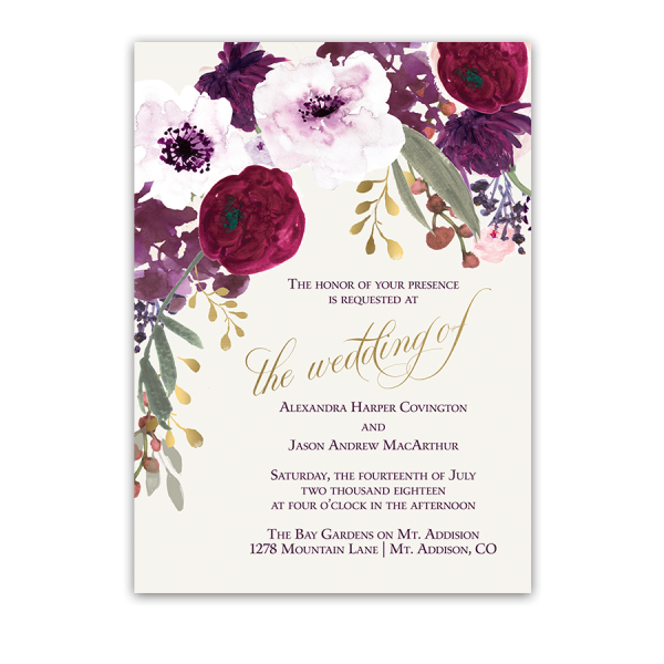 Floral Wedding Invitations Bohemian Purple Wine Flowers – Floral Wedding Invitations