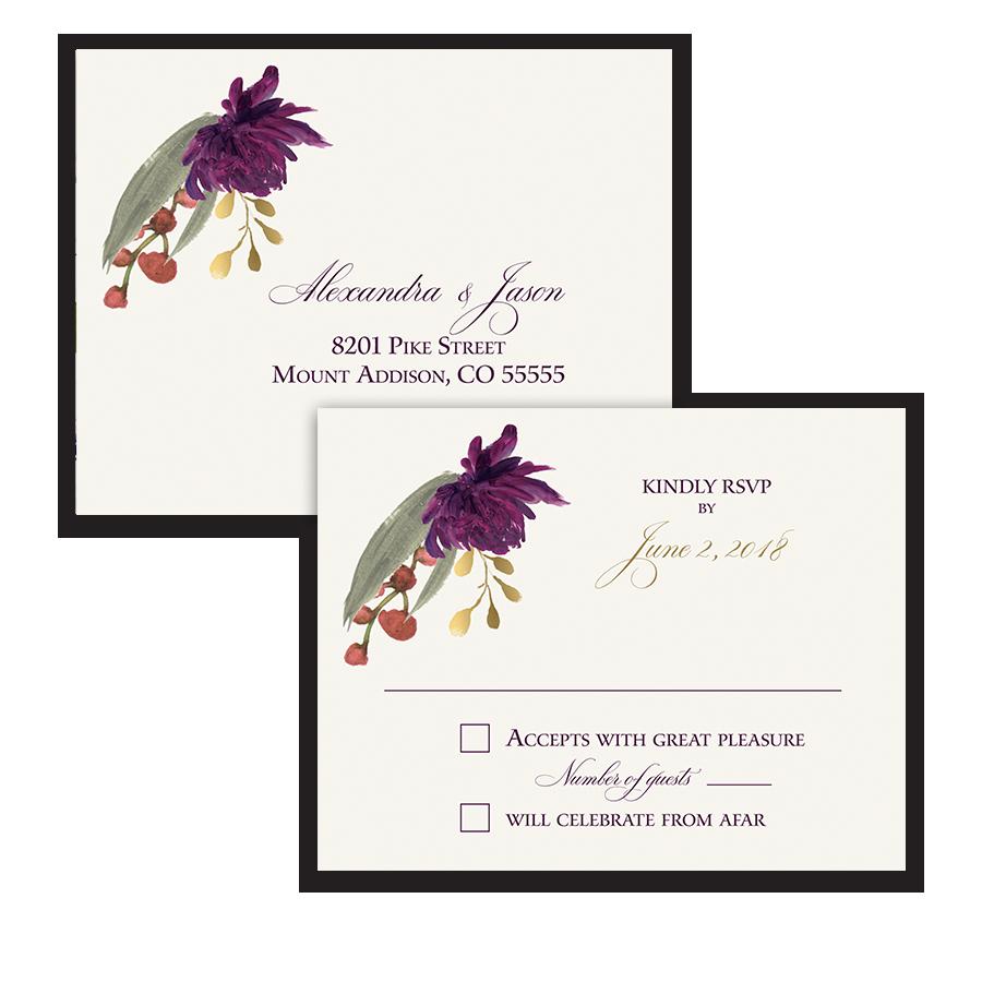 Floral Wedding RSVP Postcard Purple Burgundy Flowers