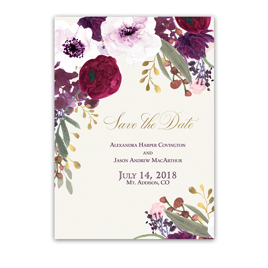 Save On Wedding Flowers: Burgundy And Gold Floral Boho Wedding Save The Date