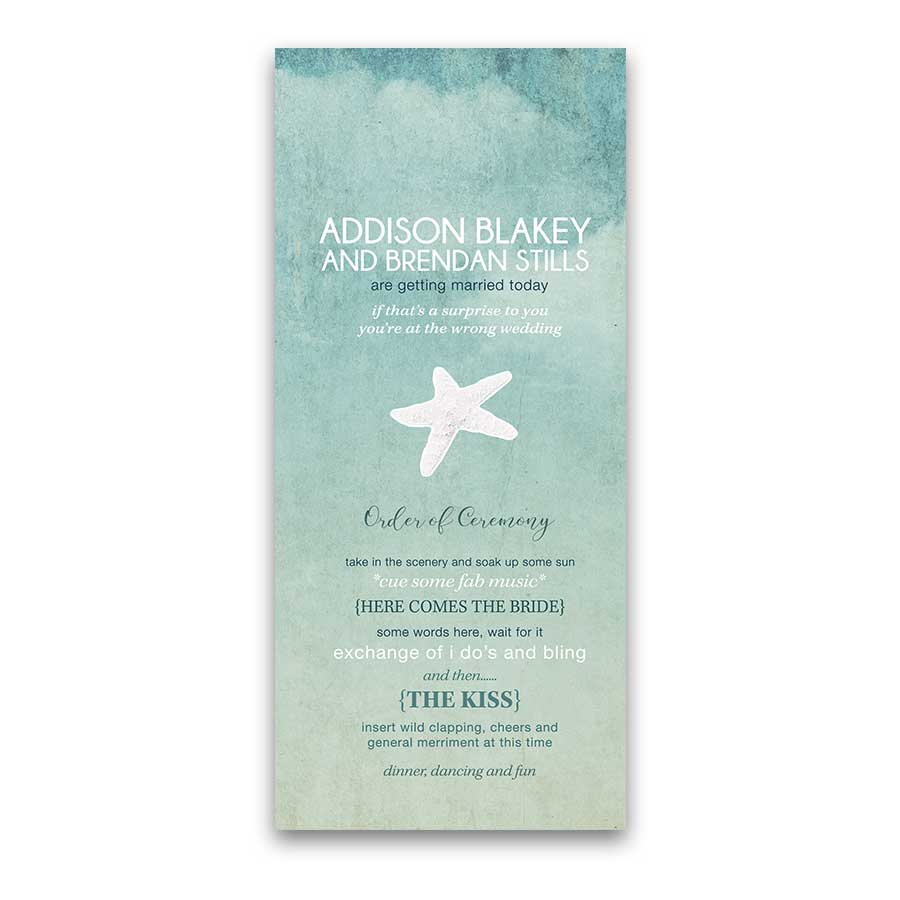 Beach Wedding Program Casual Fun Wording Template