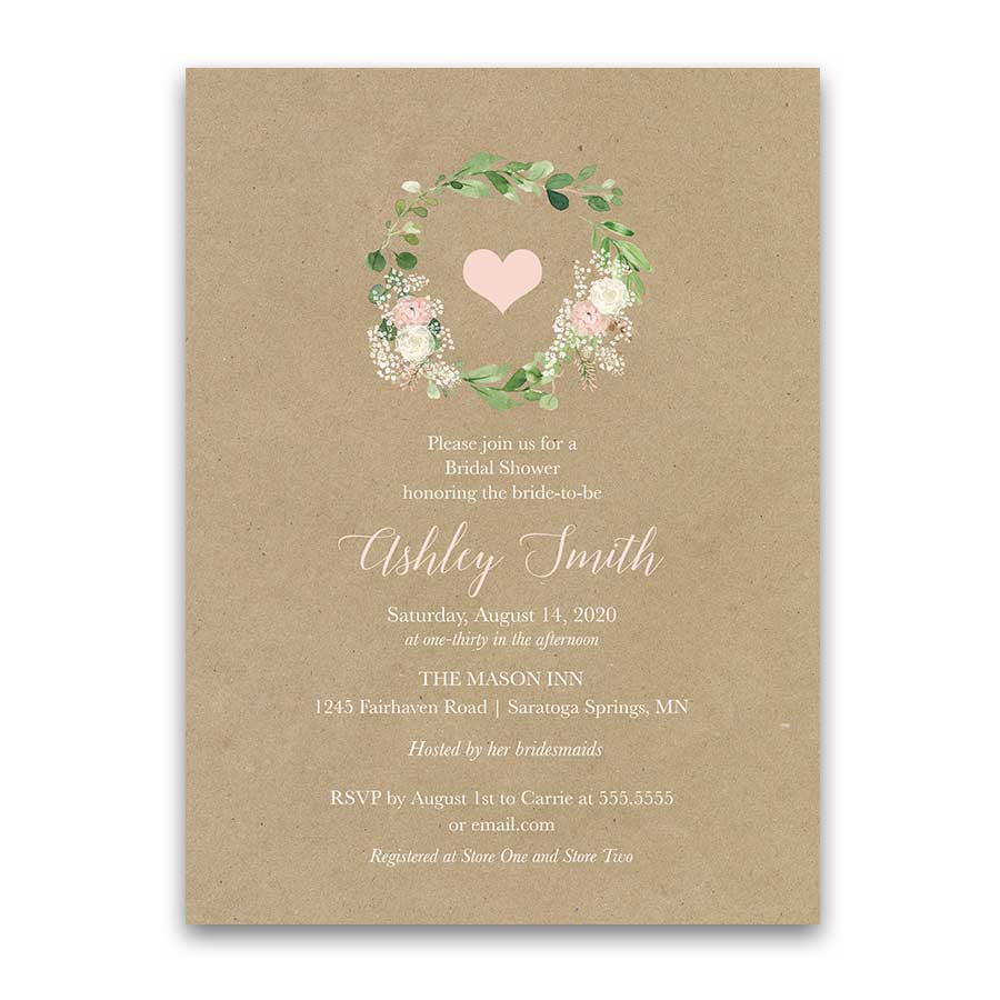 Greenery Wreath Bridal Shower Invitations Blush Florals Kraft