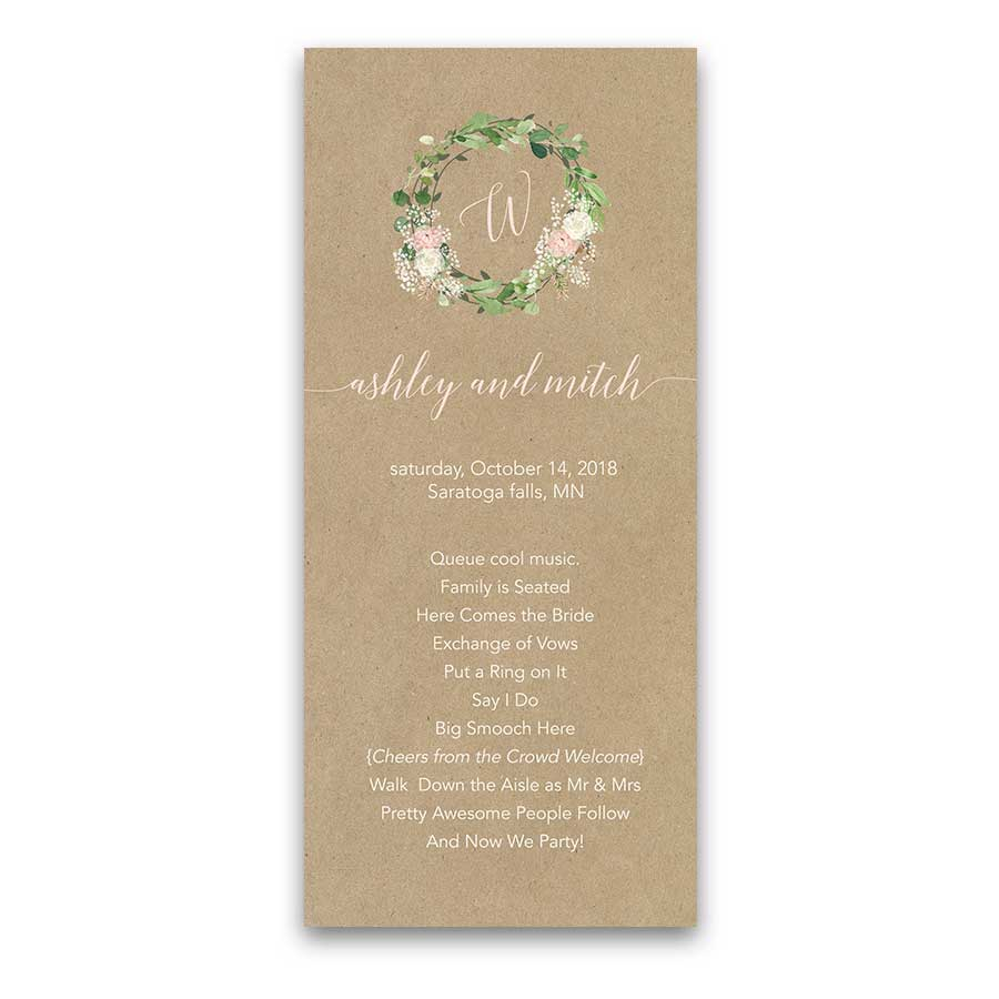 Greenery Wreath Wedding Program with Blush Florals