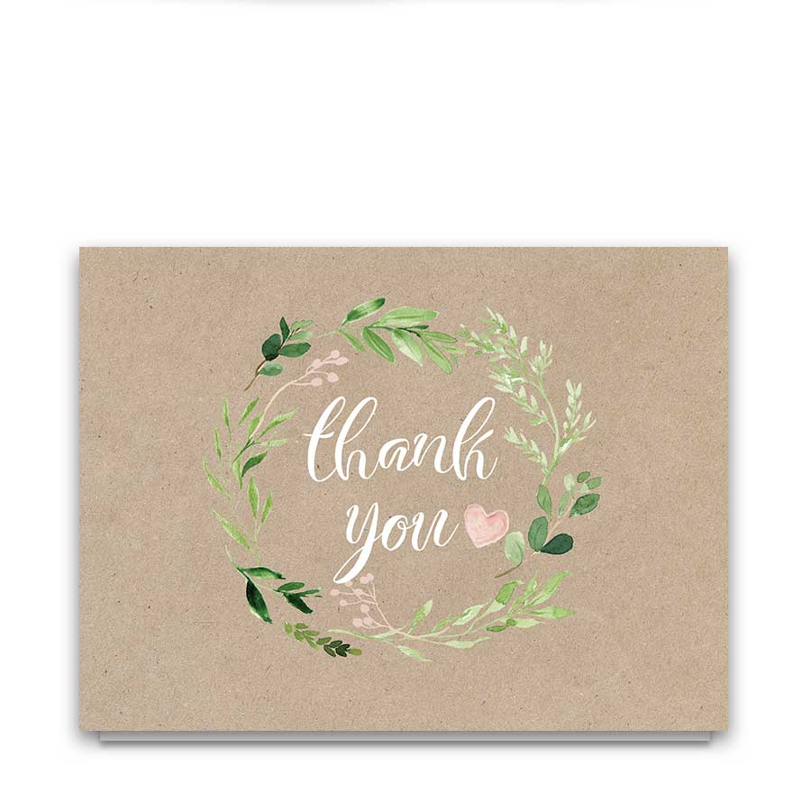 Greenery Wreath Wedding Thank You Cards Blush Florals Boho