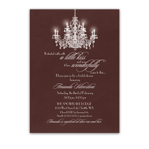 Elegant Chandelier Marsala Bridal Shower Invitations