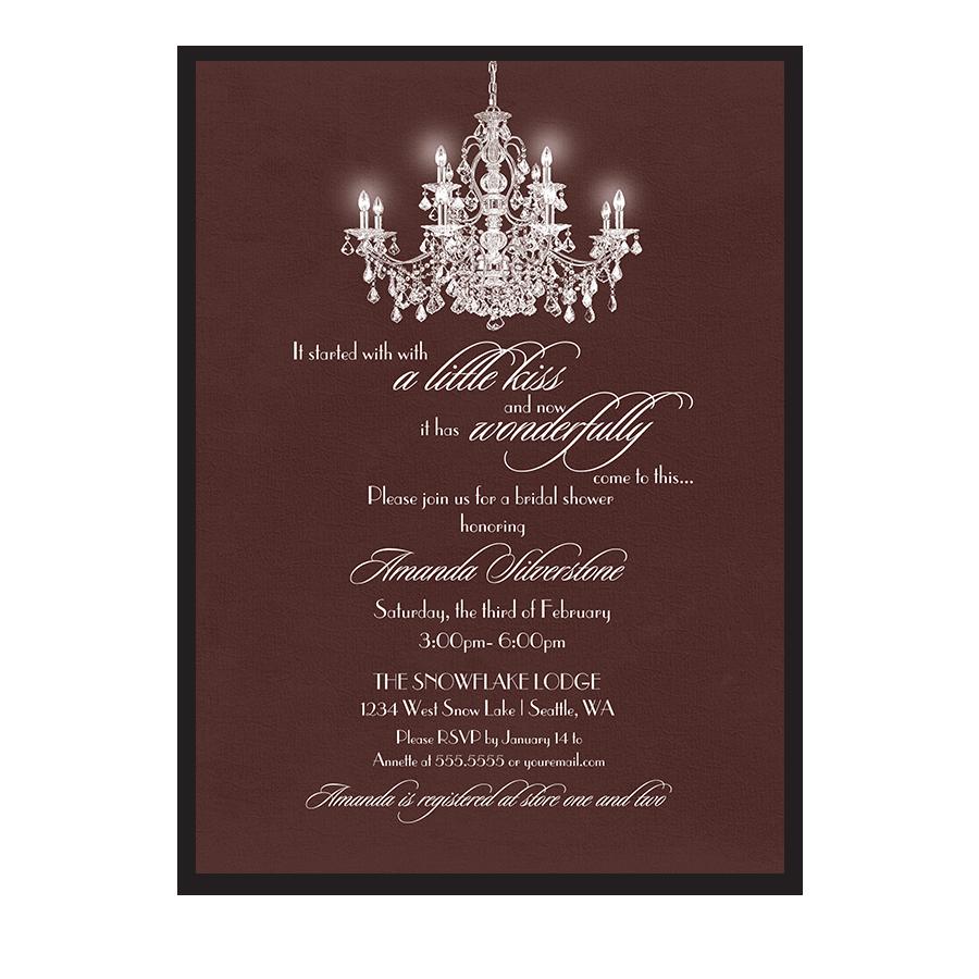 Elegant chandelier marsala bridal shower invitations for Elegant bridal shower invitations