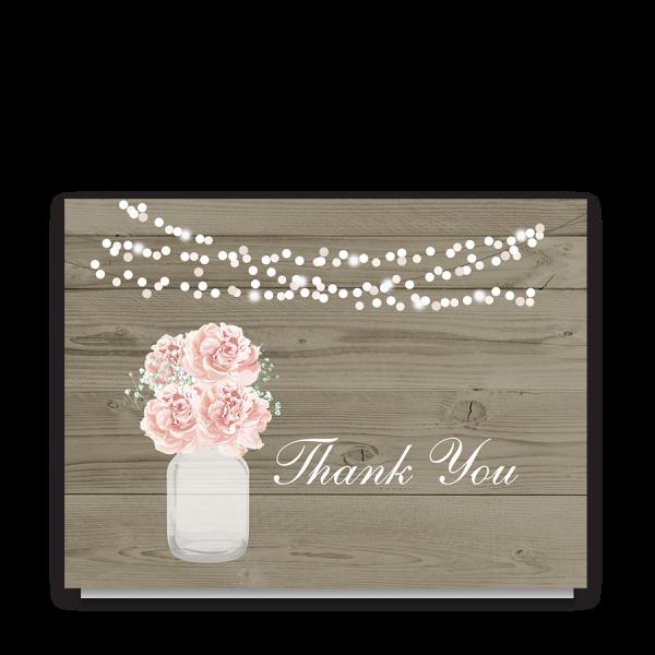 Rustic Mason Jar Wedding Thank You Cards Blush