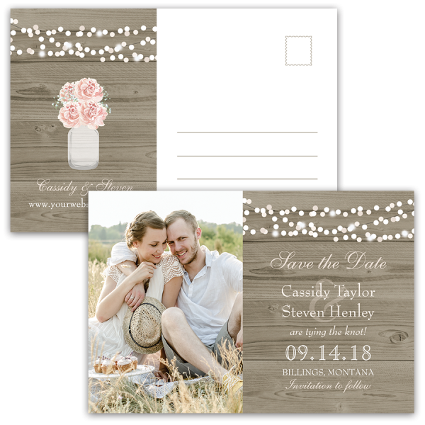 Rustic Floral Mason Jar Save the Date Photo Postcard