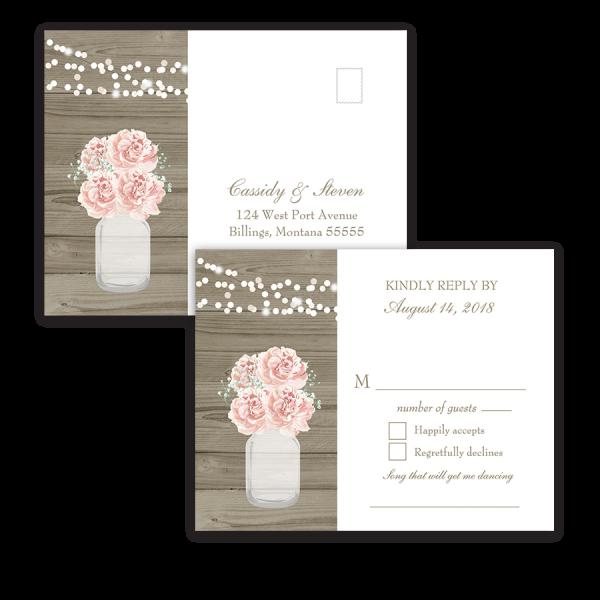 Rustic Mason Jar Blush Floral Wedding RSVP Postcards