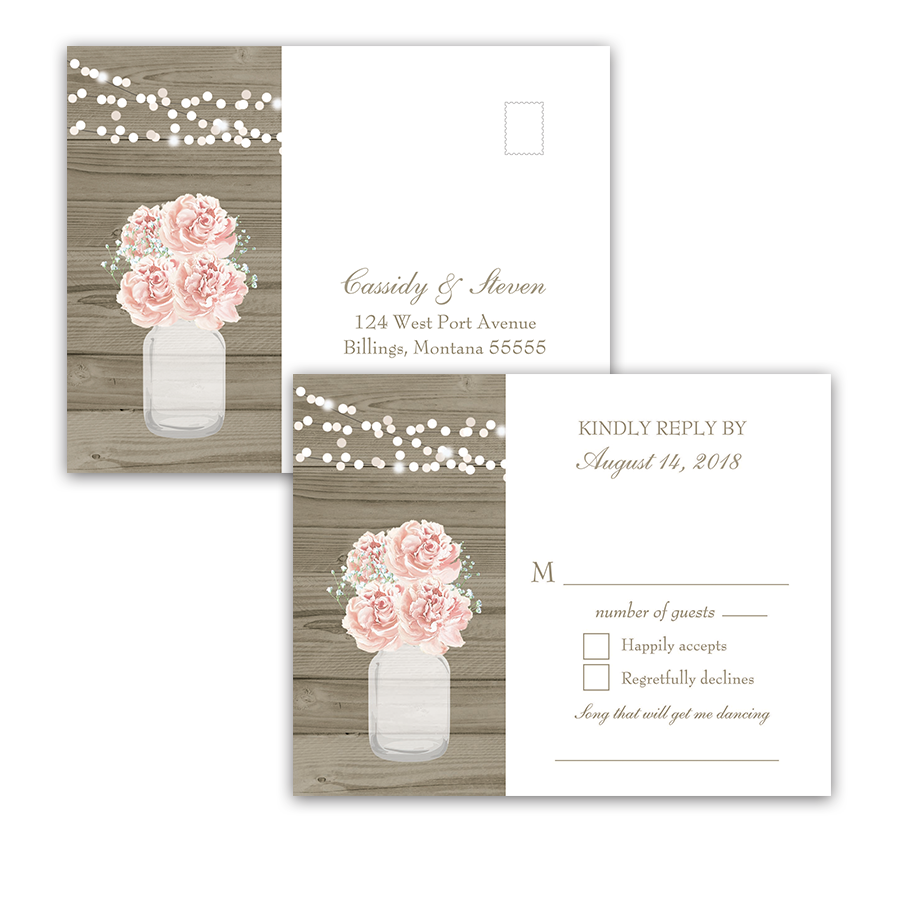 Rustic Mason Jar Blush Floral Wedding RSVP Postcards