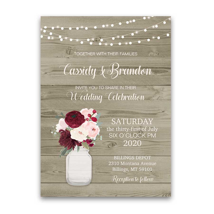 Mason Jar Wedding Invitations Floral Burgundy Blush