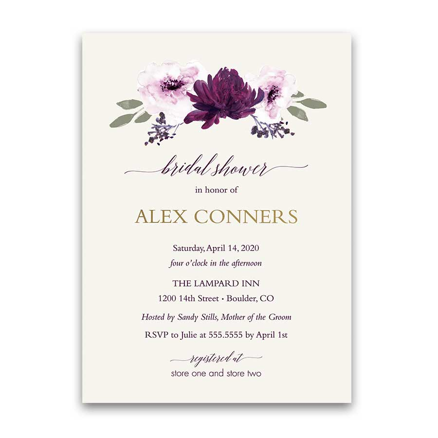 Purple Floral Bridal Shower Invitation Watercolor Greenery