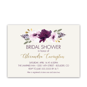 Floral Bridal Shower Invitation Purple Watercolor Flowers