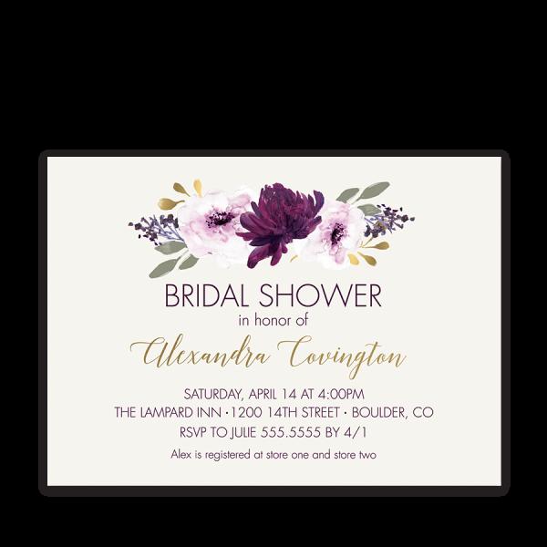 Rustic Burgundy Purple Floral Script Wedding Invitations: Floral Bridal Shower Invitation Purple Watercolor Flowers