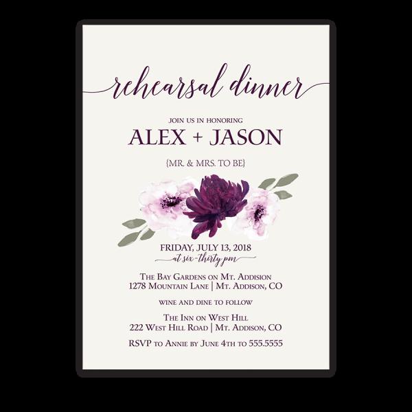 Purple Watercolor Flowers Wedding Rehearsal Invitation