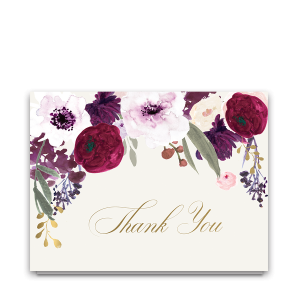 Floral Wedding Thank You Cards Burgundy Purple Gold