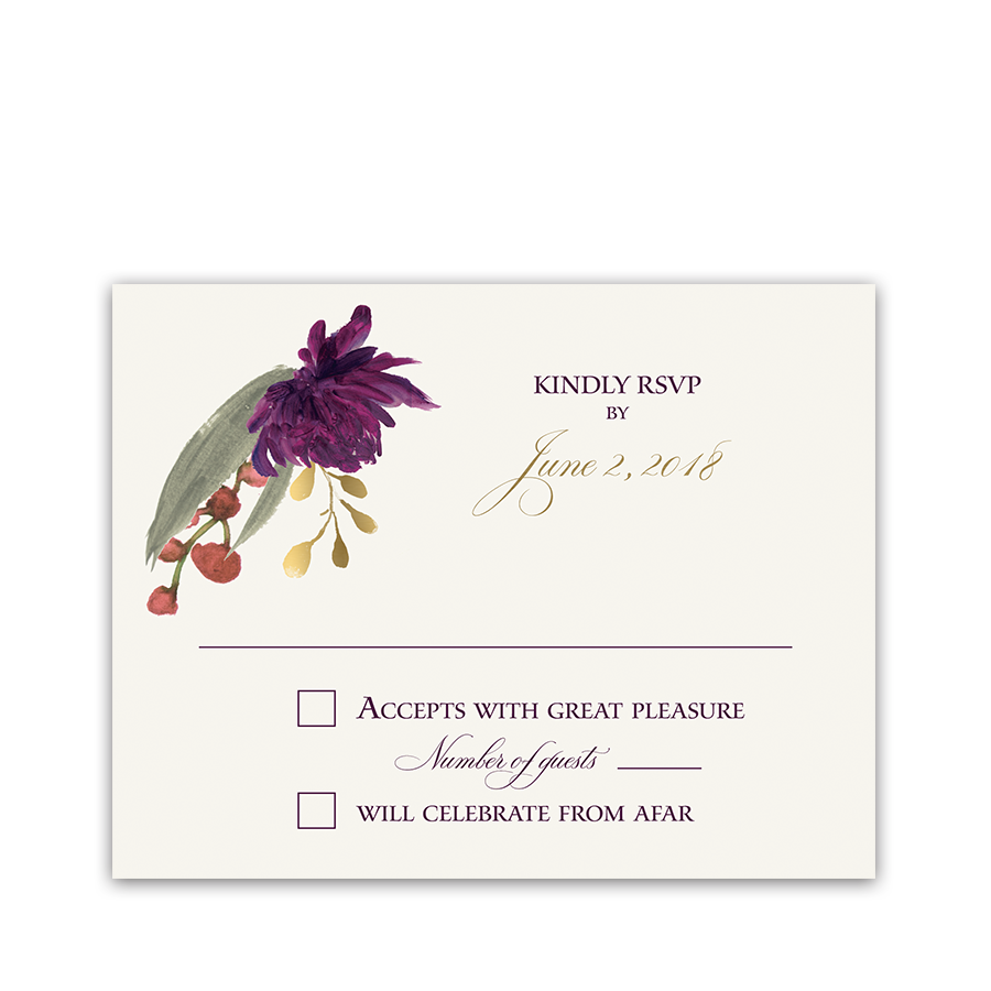 Floral Wedding RSVP Cards Boho Purple Burgundy Flowers