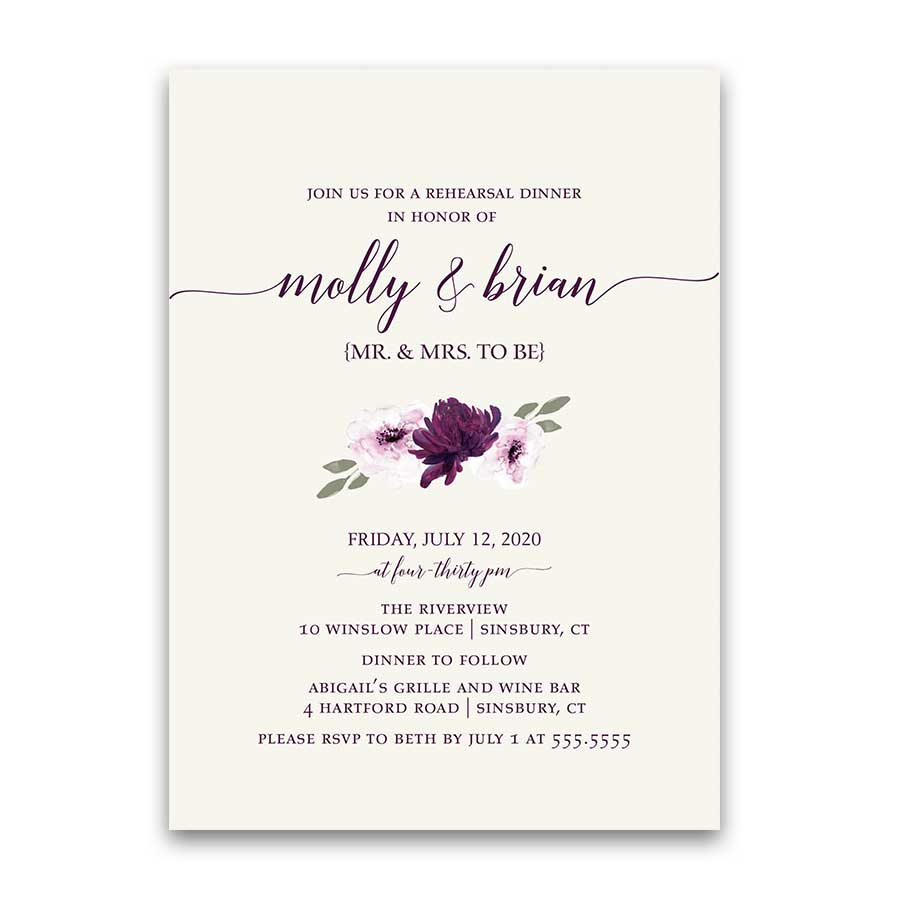 Floral Wedding Rehearsal Invitation Purple Rustic Bohemian