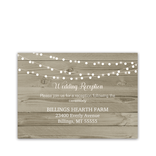 Rustic Wood String Lights Wedding Reception Card