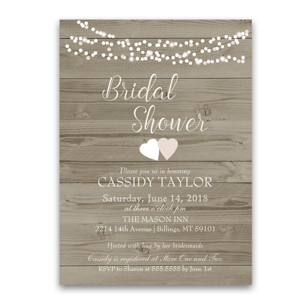 Rustic Barn Wood String Lights Bridal Shower Invite