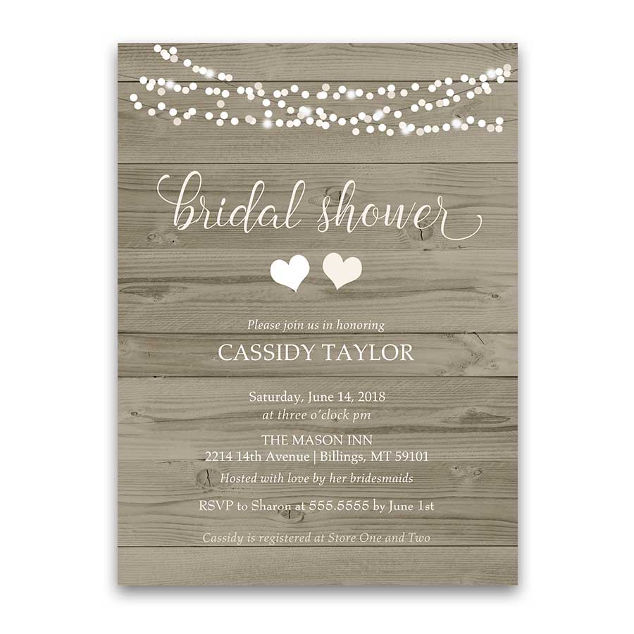 Rustic Bridal Shower Invitation Blush String Lights Barn Wood