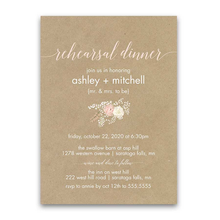 Rustic Wedding Rehearsal Invitation Kraft Paper Blush Floral