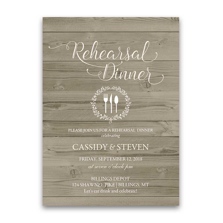Rustic Barn Wood Wedding Rehearsal Dinner Invitation Blush