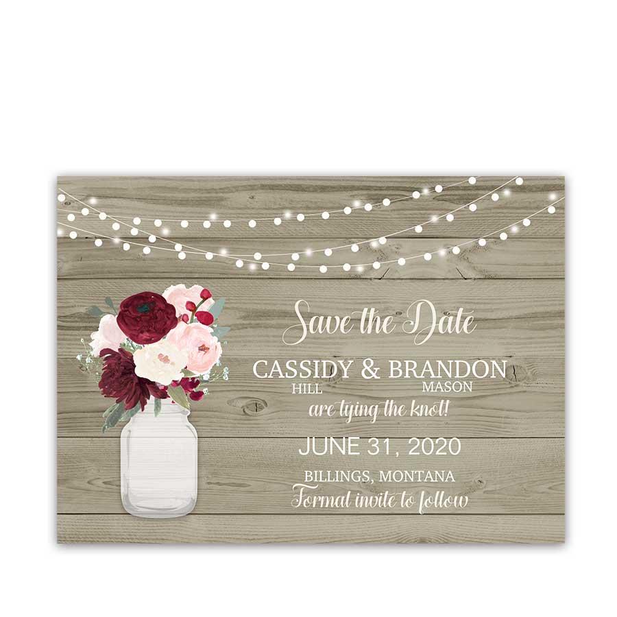 Rustic Wedding Save the Dates Mason Jar Flowers
