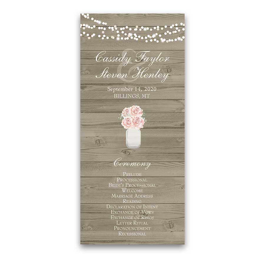 Rustic Wood Wedding Program Mason Jar Blush Floral Fan