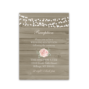 Rustic Barn Wood Floral Wedding Reception Card