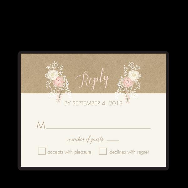 Kraft Wedding RSVP Card Bohemian Antler Floral Wreath