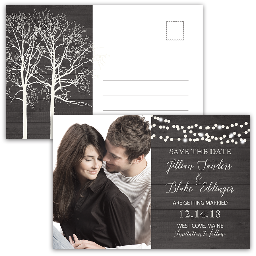 Rustic Winter Barn Wood Save the Date Photo Postcard