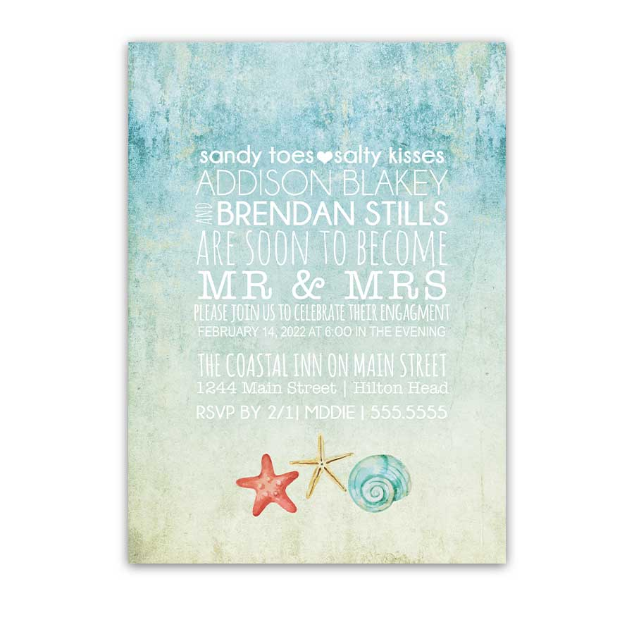 Sandy Toes Salty Kisses Engagement Party Invitations