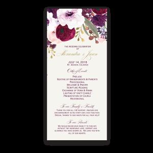Floral Watercolor Flowers Purple Gold Wedding Program