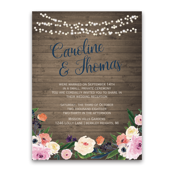 watercolor floral bohemian wedding reception only invite - Wedding Reception Only Invitations