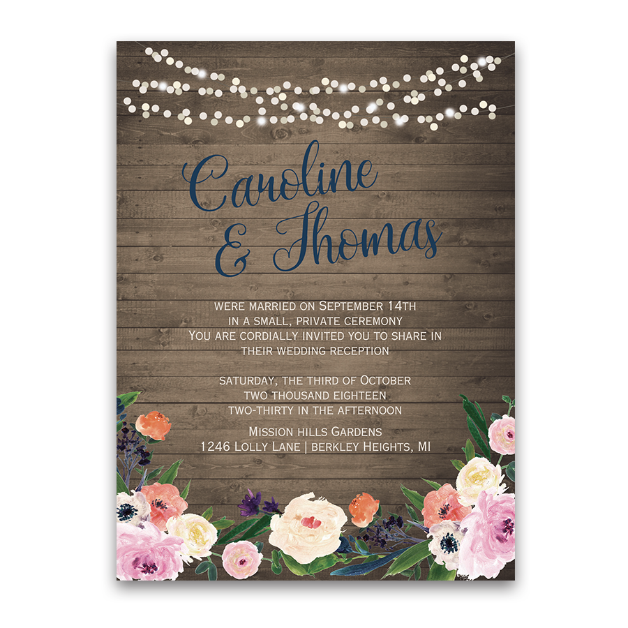 watercolor floral bohemian wedding reception only invite
