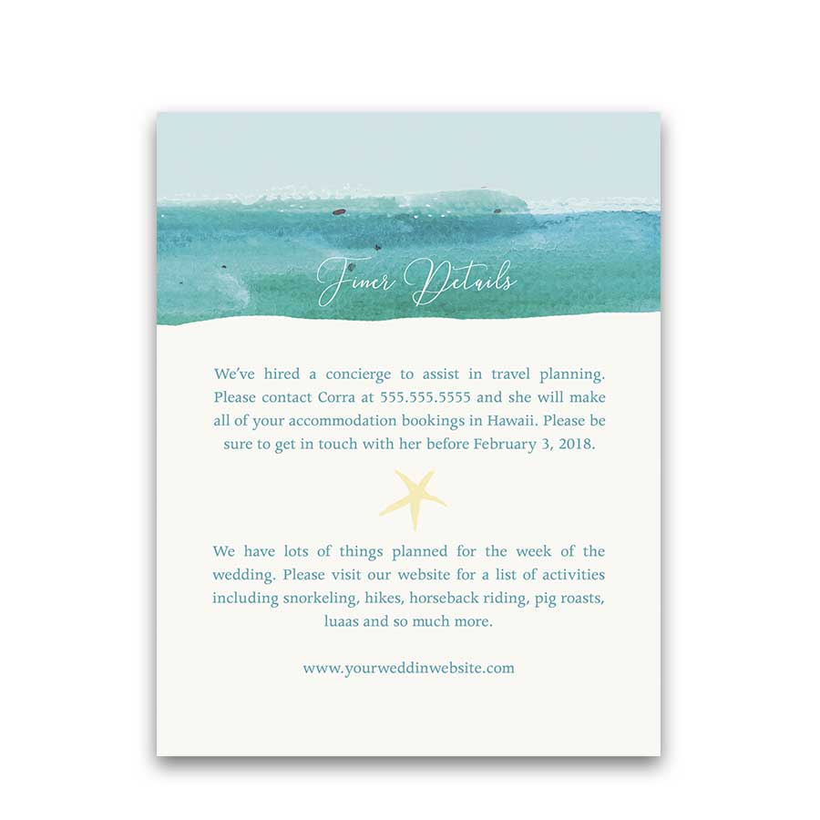 Beach Wedding Additional Information Cards Watercolor Ocean