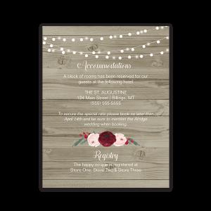 Rustic Barn Wood Burgundy Floral Wedding Insert Cards