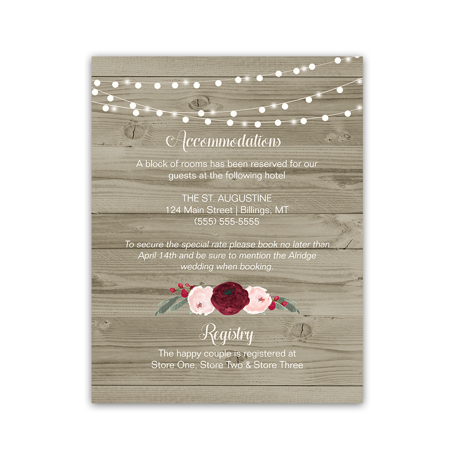 Rustic Barn Wood Burgundy Floral Wedding Insert Cards